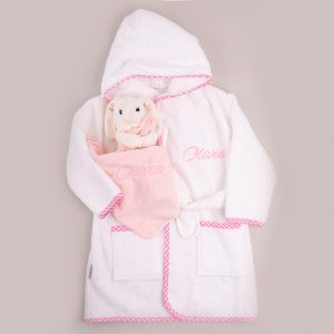 Pink Gingham Hooded Robe & Bunny Comforter Baby Gift personalised with the name Olivia