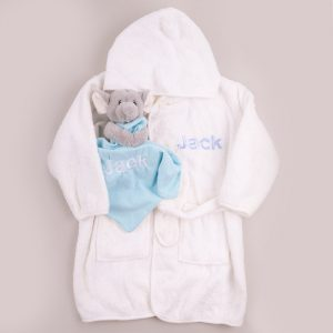 White hooded robe personalised & elephant comforter personalised with the name Jack
