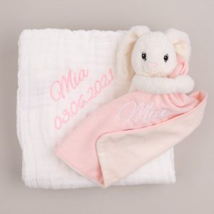 White muslin baby's blanket & bunny comforter both personalised with the name Mia