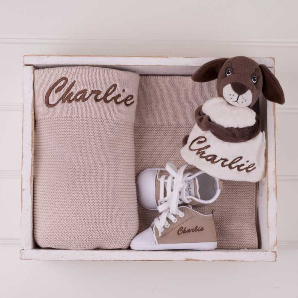 Beige Knitted Blanket, Comforter & Shoes embroidered with the name Charlie