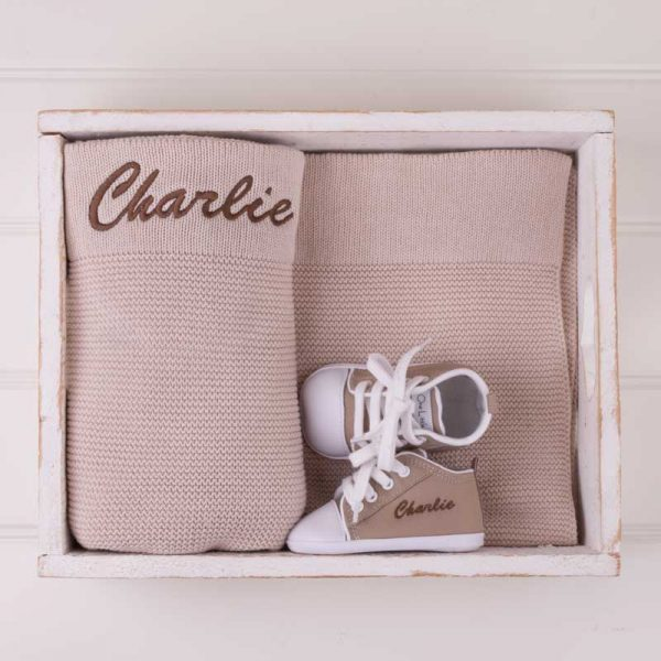 Personalised Beige Knitted Blanket & Shoes Baby Gift Box