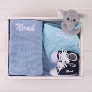 Blue Knitted Blanket, Elephant Comforter & Navy Blue baby shoes personalised with the name Noah