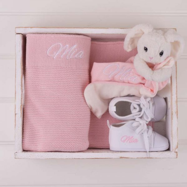 Pink Knitted Blanket, Bunny Comforter & Shoes Baby Gift Box