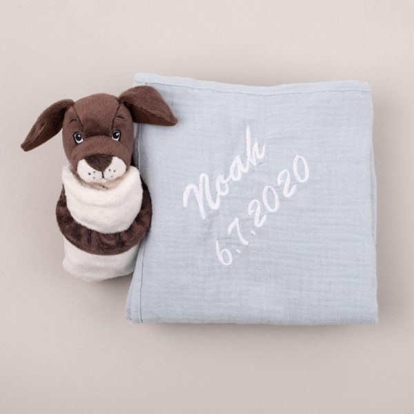 Personalised Light Blue Muslin Wrap & Puppy Baby Comforter personalised with the name Noah