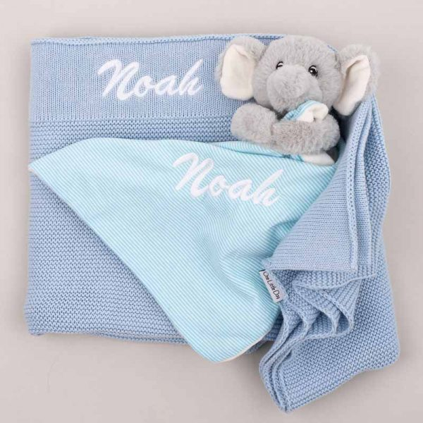 Personalised Blue Knitted Blanket & Elephant Comforter Baby Gift Box personalised with the name Noah