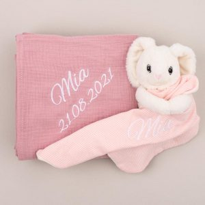Personalised Pink Muslin Wrap & Bunny Baby Comforter personalised with the name Mia