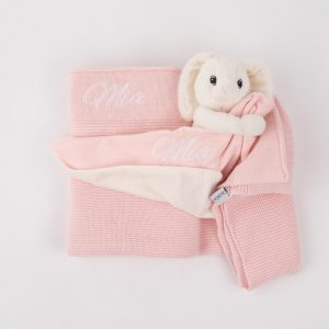Personalised Pink Knitted Blanket & Bunny Comforter Baby Gift Box personalised with the name Mia