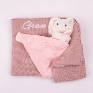 Personalised Blush Pink Knitted Blanket & Bunny Comforter Baby Gift Box personalised with the name Grace