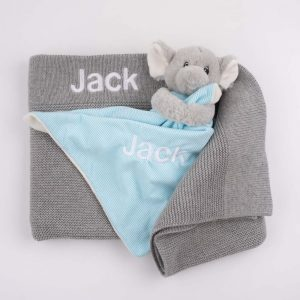 Personalised Grey Knitted Blanket & Elephant Comforter both embroidered with the name Jack