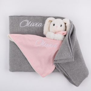 Personalised Grey Knitted Blanket & Bunny Comforter Both personalised with the name Olivia