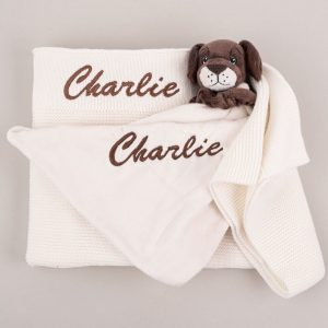 Personalised White Knitted Blanket & Puppy Comforter Baby Gift Box embroidered with the name Charlie