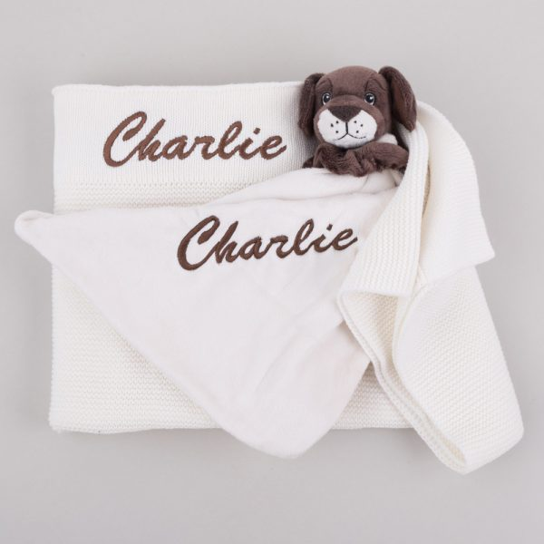 Personalised White Knitted Blanket & Puppy Comforter Baby Gift Box