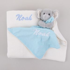 Personalised white Knitted Blanket & Elephant Comforter Baby Gift Box personalised with the name Noah