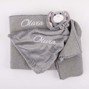 Personalised Grey Knitted Blanket & Bunny Comforter personalised in white with the name Olivia