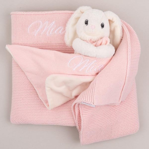Personalised Pink Knitted Blanket & Bunny Comforter Baby Gift Box