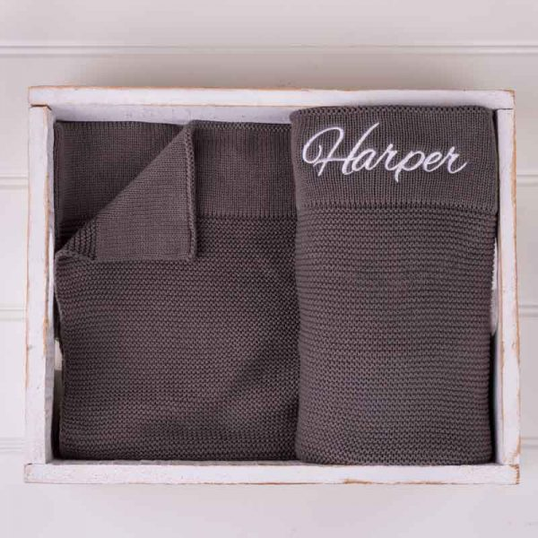 Personalised Olive Green Knitted Blanket personalised with the name Harper