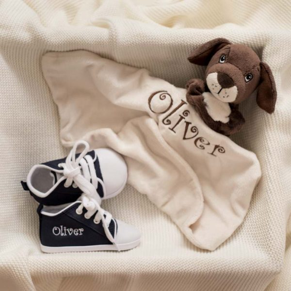 Brown puppy baby comforter & navy blue baby shoes both personalised with the name Oliver