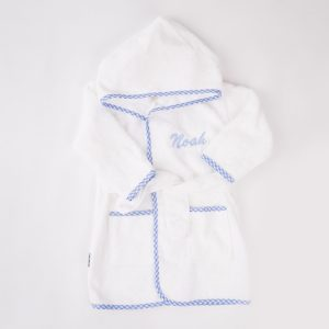 Blue Gingham Hooded Robe personalised with the name Noah
