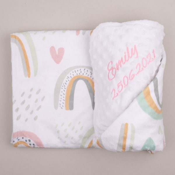 Personalised Rainbow & Heart Minky Blanket embroidered wit the name Emily