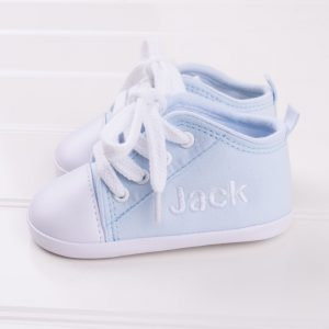 Blue baby shoes personalised with the name Jack