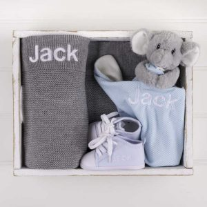 Grey Knitted Blanket, Elephant Comforter & Shoes Baby Gift Box personalised with the name Jack