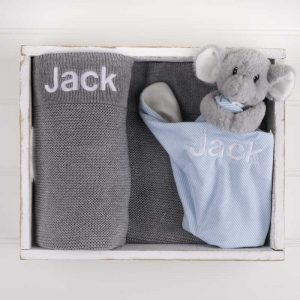 Personalised Grey Knitted Blanket & Elephant Comforter Baby Gift Box