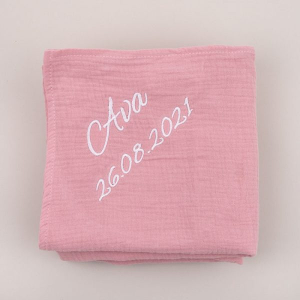 Personalised Pink Organic Muslin Wrap personalised with the name Ava