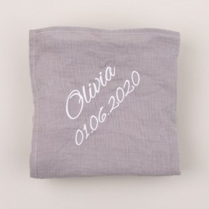 Personalised Grey Organic Muslin Wrap personalised with the name Olivia