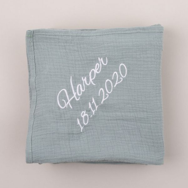 Personalised Green Sage Organic Muslin Wrap personalised with the name Harper