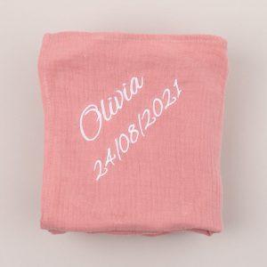 Personalised Organic Muslin Wrap Blush Pink with Olivia