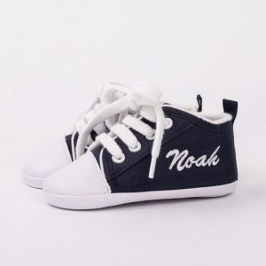 Personalised Navy Blue Shoes personalised with the name Noah