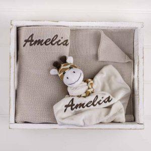 Personalised Beige Knitted Blanket & Giraffe Comforter Baby Gift Box