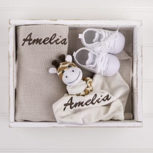 Beige Knitted Blanket, Comforter & Shoes Baby Gift Box embroidered with the name Charlie