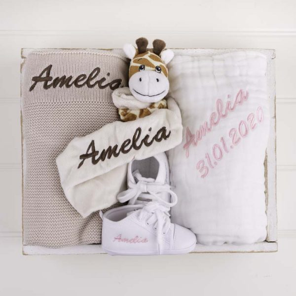 4-piece Beige Knitted Blanket Baby Gift Box