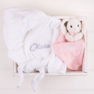 Personalised White Hooded Robe & Bunny Comforter both personalised with the name Olivia