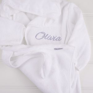 White hooded robe personalised with the name Olivia