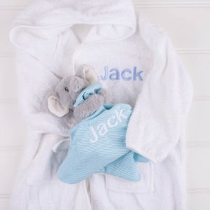 Personalised White Hooded Robe & Elephant Comforter both personalised with the name Jack