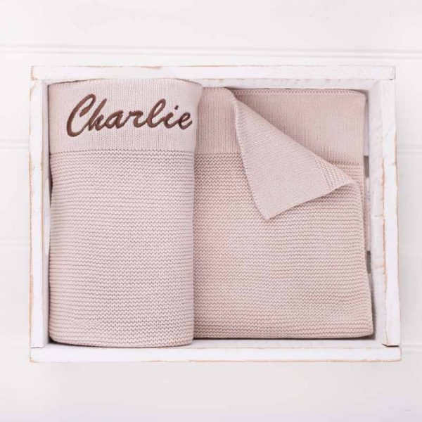 Personalised Beige Knitted Blanket embroidered with the name Charlie