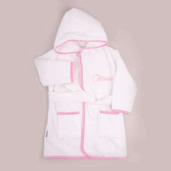 Pink Gingham Hooded Robe personalised with the Olivia