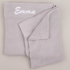 Personalised Light Grey Knitted Blanket personalised with the name Emma