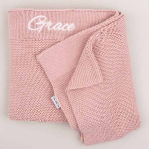 Personalised Blush Pink Knitted Blanket personalised with the name Grace