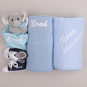 4-piece Blue Knitted Blanket Boy's Baby Gift Box with Noah