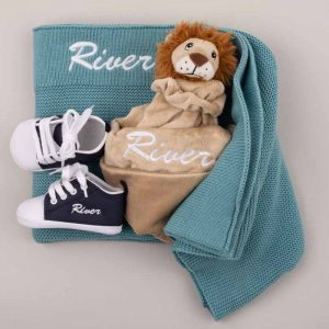 Ocean Blue Knitted Blanket, Lion Comforter & Shoes Baby Gift Box pesonalised with the name River