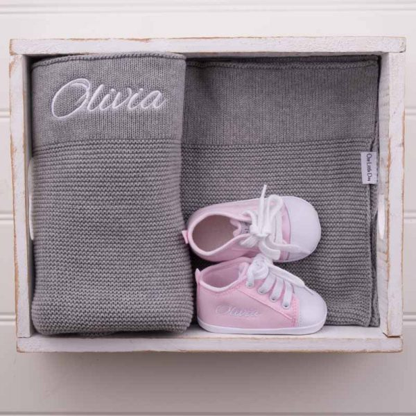 Personalised Grey Knitted Blanket & Pink Shoes personalised with the name Olivia