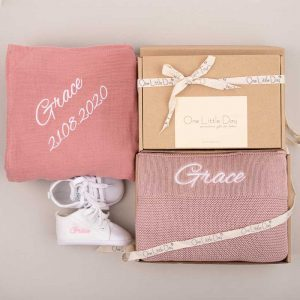 3 piece blush pink, knitted blanket, dark pink wrap & baby shoes embroidered with Grace