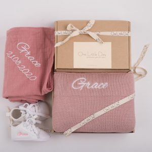 One LIttle Day Gift box and organic blush wrap with white