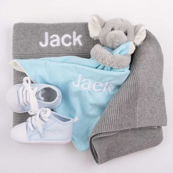 Grey Knitted Blanket, Elephant Comforter & Baby Shoes personalised with the name Jack
