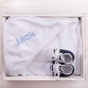 Personalised White Hooded Towel & Navy Blue Shoes Baby Gift personalised with the name Jack