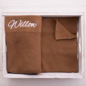Personalised Brown Knitted Blanket embroidered with the name Willow