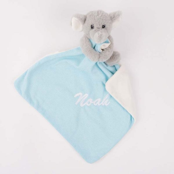 Grey & Blue elephant baby comforter personalised with the baby name Kenzo